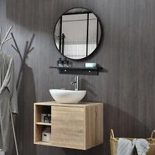 Elecwish Bathroom Vanity Cabinet w/Round Mirror Wall Mounted Side Shelves Wood