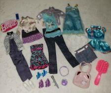 Barbie 2000s Contemporary Blue Tops Pants Skirt Dresses Accessories Lot