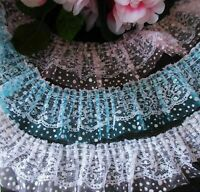 Lovely ruffled lace trim 2 1/4 inch wide  = selling by the yard /select color/