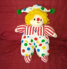 Pier 1 Imports CLOWN White Cloth 17in Plush Blonde Yarn Hair Polka Dots Stripes