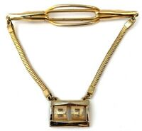 VINTAGE TIE CLIP WITH CHAIN INITIAL BB DESIGNER ANSON MEN'S COSTUME JEWELRY