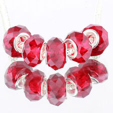 Crystal red 5pcs MURANO glass bead LAMPWORK For European Charm Bracelet