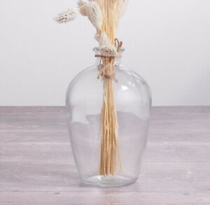 SHABBY CHIC VINTAGE GLASS BELLY BUD VASE JAR 16cm ~  Perfect For Dried Flowers