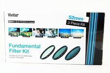 Kit 3 filtros Vivitar 52mm UV CPL ND8 para Sony Canon Nikon Tamron Pentax Sigma