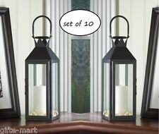 "10 lot large 15"" tall BLACK Candle holder Lantern Lamp wedding table centerpiece"