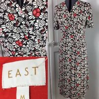 East Jersey Dress Slip On Midi Pleated Stretch Bird Print Mock Wrap Sz M 16-18