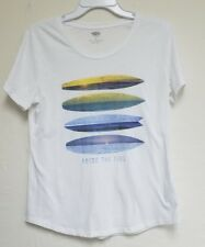 Old Navy Graphic T-Shirt Surfboards Above The Tide Tee Beach Surfing Theme Shirt