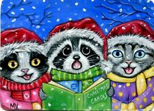 Original Raccoon Christmas Cats Kittens Carolers Singing Melody Snow ACEO Print