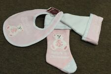 3-SET BABY GIRL'S 1ST CHRISTMAS Pink Stocking Hat Bib Teddy Bear First Cute NEW