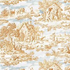 Textiles français Toile de Jouy Fabric (Oberkampf) Golden Brown & Greys