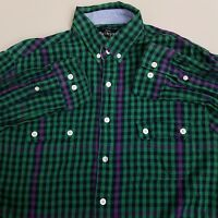 Crooks & Castles Flannel Shirt Men's Size Medium M Green Blue Plaid Checks