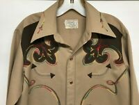 Vtg 1950s H Bar C Embroidered Western Rodeo Cowboy Pearl Snap Shirt  M