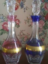 Tharaud - Two Cut to Clear Crystal Cordial Decanters - Cobalt and Cranberry