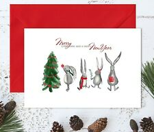 Personalised Bunny Family Christmas Greetings Cards & Red Envelope - A5