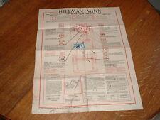 HILLMAN MINX AND HUSKY GARAGE LUBRICATION CHART. 1966.