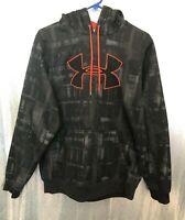 Under Armour Mens Sz M Black Gray Print Orange Logo Hooded Loose Sweatshirt