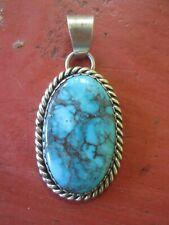 Vintage Navajo Native Sterling Silver Turquoise Large Pendant Signed DS