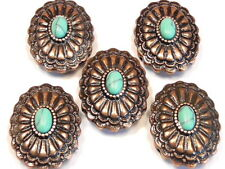 5 - 2 HOLE SLIDER BEADS ANTIQUED COPPER OVAL FAUX TURQUOISE WESTERN CONCHO BEADS