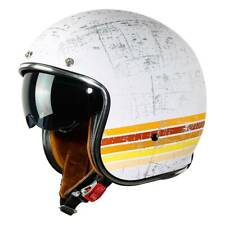 XXL Open Face DOT Adult Helmet Motorcycle Retro Vintage Suede Liner White