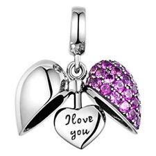 Genuine 925 Sterling Silver Charm Bead Crystal Bracelet I Love U Heart Gift Idea