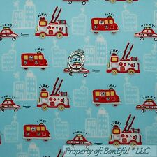 BonEful FABRIC FQ Cotton Quilt Blue Red White VTG Baby Boy FIRE Truck House 911