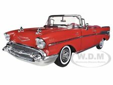 1957 CHEVROLET BEL AIR CONVERTIBLE RED 1:18 DIECAST MODEL CAR BY MOTORMAX  73175