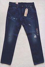 Levis 511 enge Jeans Größe 34x33 Herren Blau Denim Fabrik Distressed Baumwolle