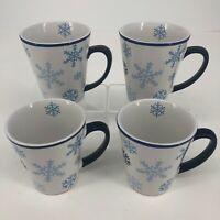 Set of 4 - 2000 Cambridge Potteries Holiday Snowflake Stoneware Coffee Cups Mugs