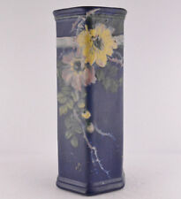 "Weller Blue Decorated Six Sided Vase Embossed Floral Design (11 1/2"" Tall)"