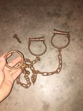 Leg Iron Prison Shackles Handcuffs 50+ Inches Solid Metal Patina Collector Vg