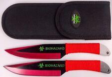 "2pc Red/Black 9"" Zombie Biohazard Throwing Knife set w/ Sheath Dagger Kunai"