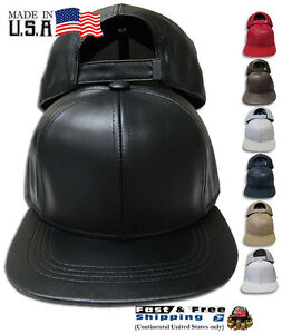 Leather USA Made Baseball Cap Genuine Hat Plain High Quality Adjustable NEW