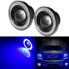 "2pcs Hi-Power 3.5"" Projector LED Fog Light w/ Blue COB Halo Angel Eye Rings Car"