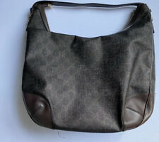 Authentic Gucci Brown Handbag Embossed Leather Hobo Bag Excellent Condition
