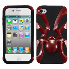For iPhone 4 4S Widow Spider Hybrid Rubber Silicone Case Phone Cover Red Black