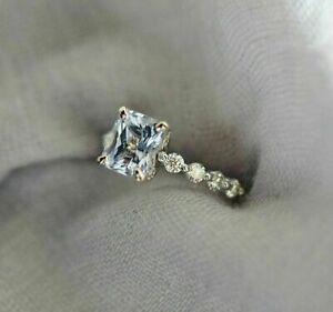 2.83CT Emerald Cut Aquamarine 14K White Gold Finish Wedding Engagement Ring