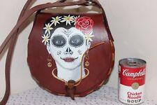 Hand Tooled & Hand Painted Leather Purse, Dia de los Muertos, Beautiful, OOAK