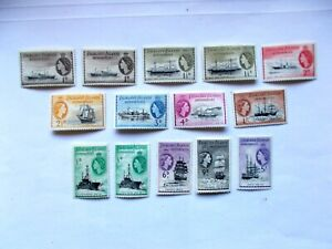 FALKLANDS DEPENDENCIES: 1954 Ships 14 stamps incl shades to 5/s LMM SgG26/38