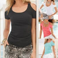 Plus Size Womens Cold Shoulder Short Sleeve T-Shirt Summer Casual Tee Top Blouse
