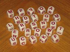 vtg Big Boggle Game Parts - 25 wood red letter cubes dice - 1979 Parker Brother