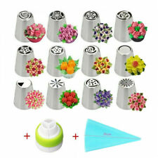 14PCS Russian Flower Cake Decorating Nozzles Stainless Steel Icing Piping Nozzle