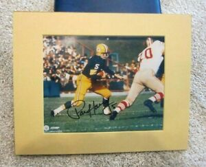 Paul Hornung Signed Green Bay Packers Running With Ball 8x10 Photo COA