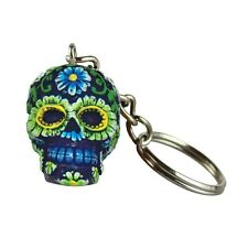 Hand Painted Polyresin Sugar Skull Key Chain - Blue