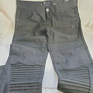 Rocawear Tapered Fit Raw Denim Moto Black Jeans.  Eight pocket. Fit 36x32 NEW