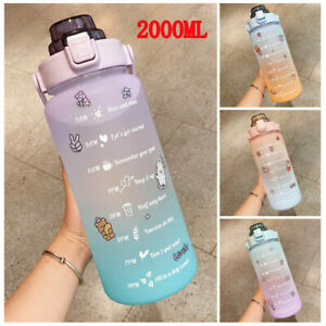 2L Motivational Water Bottle with Time Marker Large Gradient Straw Sports Jugs!!