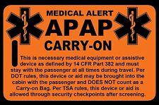 Safety Orange Carry-On APAP  Bag Tag - TSA - CPAP BiPAP APNEA POC