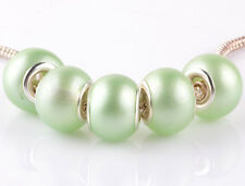 5pcs silver pearl Matcha green spacer beads fit Charm European Bracelet #A915