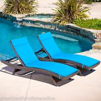 Set of 2 Outdoor Patio Furniture Wicker Chaise Lounges w/ Blue Cushion
