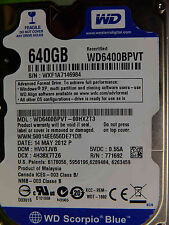 Western Digital 640 Go WD 6400 BPVT - 00hxzt3 DCM: hvotjvb 14may2012 | disque dur