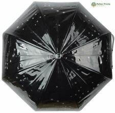 Fallen Fruits MEDIUM TRANSPARENTE estrellas Paraguas en Negro Con Plateado